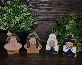Primitive Thanksgiving Decor Add-on Pieces, Personalized Fall Decor, Thanksgiving Decoration Housewarming Hostess Gift Pilgrim Indian Turkey