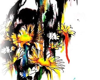 "8x10 ""Cold Desert"" Coyote Flowers Original Watercolor Canine Animal Art Print"