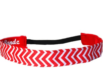 non slip headband  Chevron-Red & white 7/8""