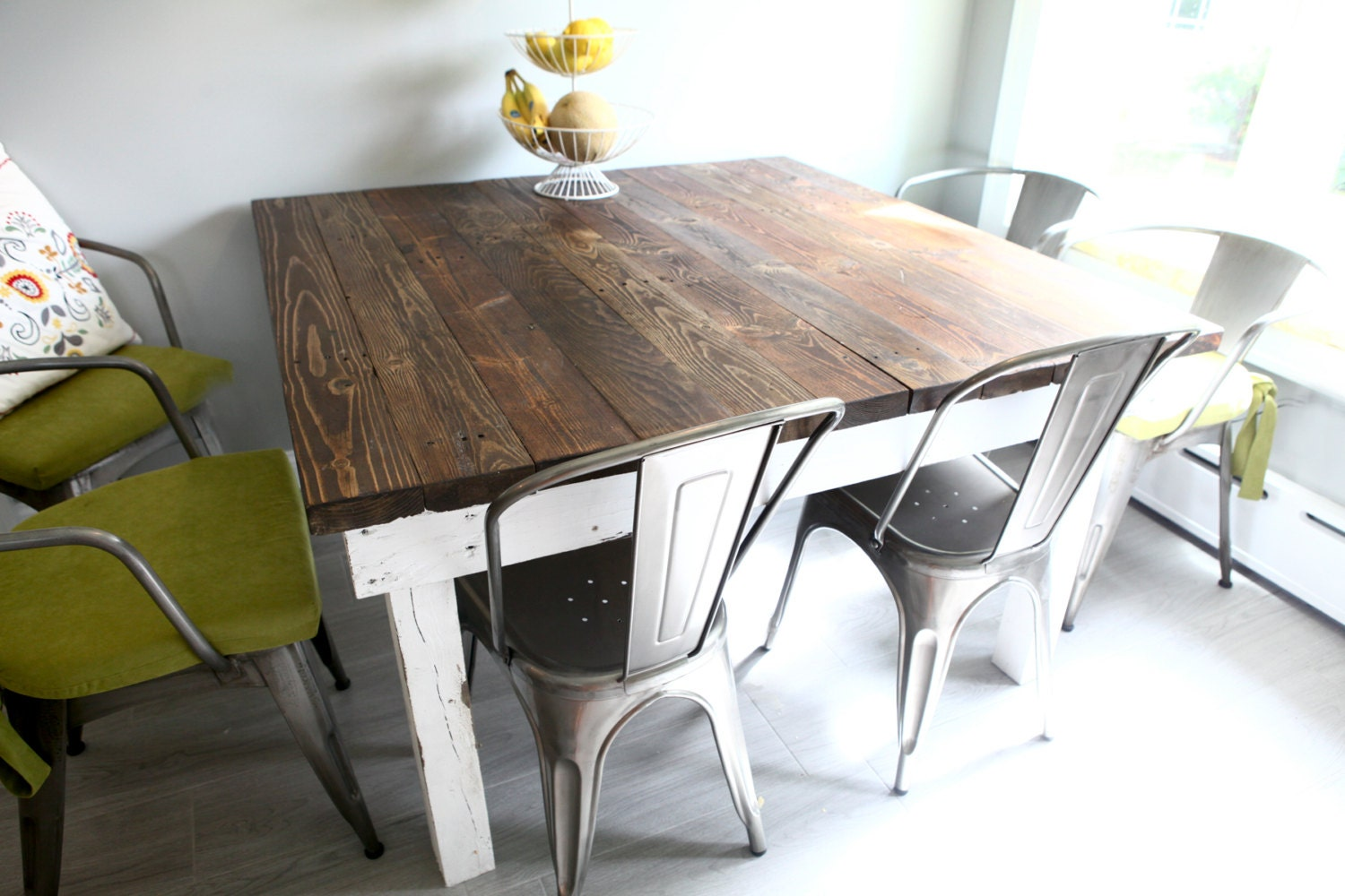 Farmhouse Reclaimed Wood Dining Room Tables And Rustic Kitchen