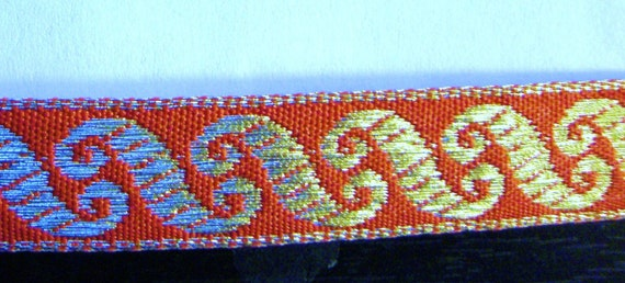 Embroidered Woven Fabric Trim-Metallic GOLD Scrolls on SCARLET RED for Costumes,Sewing,Crafting,Decor-by the yard,1/2 inch wide,Rich/Regal