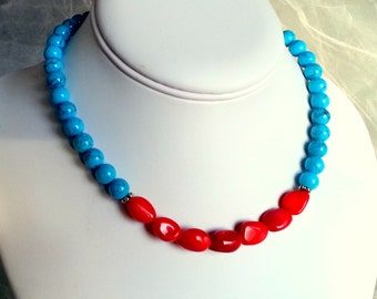 Coral & turquoise necklace,Turquoise necklace, Blue beads necklace,Coral, Red beads necklace,Turquoise magnesite necklace,Coral necklace