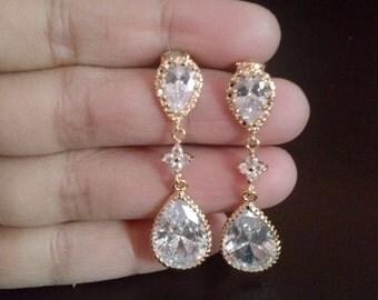 Bridal earrings,gold tear drop crystal earrings,drop-dangle-stone-glass earrings,crystal gold earrings,bridesmaid gift,bridesmaid earrings