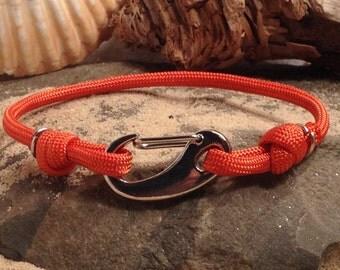 Nautical Sailing Bracelet with Orange Paracord & Silver Snap Hook
