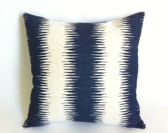 11 Sizes Available: One Navy & Cream Ikat Stripe Decorative Throw Zipper Pillow Covers Ikat Stripe Gray Accent Pillow-QG2B