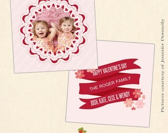 INSTANT DOWNLOAD - 5x5 Valentine Card Photoshop Template - CA400