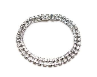 Vintage Clear Rhinestone Bracelet - Double Row Rhinestone Bracelet - Silver Tone Metal