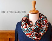 Modern Tribal Infinity Scarf, Aztec Eternity Scarf, Brown/Turquoise