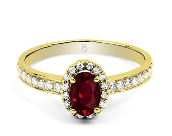 18ct Yellow Gold Ruby & Diamond Halo Engagement Ring 0.32ct 2mm