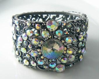 AB rhinestone encrusted wide cuff bracelet
