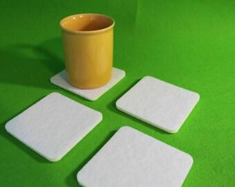 Felt Coaster Simple Shape Circle or Quadrat   Felt  Set of 4 NEW 6 mm felt