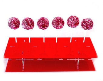 Rectangular Solid Red Acrylic Cake Pop Stand - 2 Sizes Available