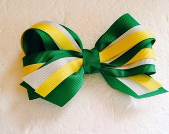 Green Hair Bow Yellow Green Bay colors. Hair Accessory. Clip.