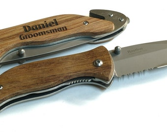 SET OF 9 Engraved Pocket Knife, Personalized Pocket Knife,Serrated Stainless Steel Blade, Best Man Gift, Groomsmen Gift, Birthday Gift,138-9