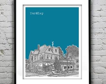 Yardley PA Poster Print Art Pennsylvania Skyline Historic district Version 3