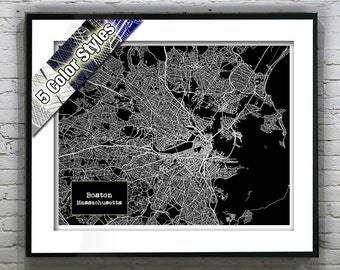 1 Day Only Sale 10% Off - Boston Massachusetts Blueprint Map Poster Art Print Several Sizes Available  Version 6