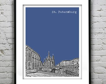 Saint Petersburg Russia Poster The Cathedral of The Resurrection of Christ Art Print Version 2