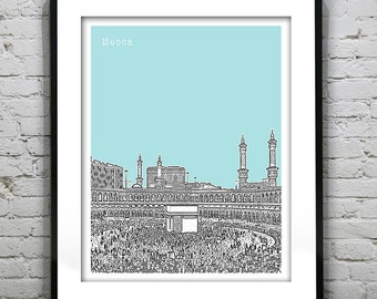 Mecca Saudi Arabia Art Print Skyline Middle East