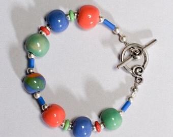 Kazuri Candy Orange Green Blue Bracelet