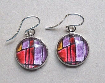 Red Lilac Stained Glass Photo Earrings