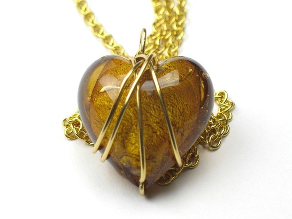 Gold Heart Necklace with Wire Wrapped Glass Pendant and Gold Chain / Romantic Gift / Best Friend Gift