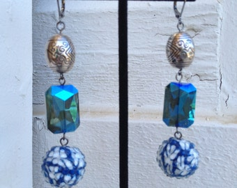 50% CLEARANCE Reflected in Price Cool Blue Drop Earrings