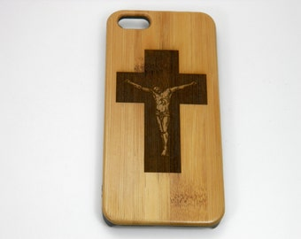 Crucifix iPhone Plus Case. Customized Cover Featuring Jesus Christ Cross Bamboo Wood Phone Case. Christian Catholic Christmas Gift
