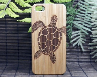 Sea Turtle iPhone 7 Case. Tribal Turtle Tattoo. Hawaiian Ocean Honu. Eco-Friendly Bamboo Wood Cover Skin Gift. iMakeTheCase. iPhone 7 Cover
