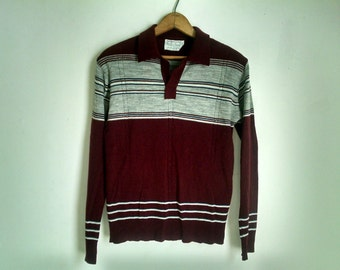 Burgundy and Grey Collared Vintage Striped Sweater