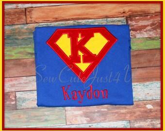 Super Hero Birthday Personalized Initial/ Number Shirt