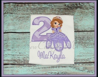 Sophia the First Personalized Birthday Number Tee