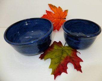Indigo Blue Ceramic Mixing Bowl Set, Handmade Nesting Bowls