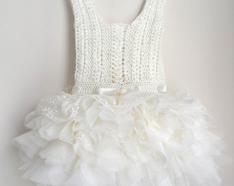 SALE. Ready to ship. Size 12-18 month.Off white lace and tulle Baby Tutu Dress. Baby dress with Lace Stretch Crochet Bodice.
