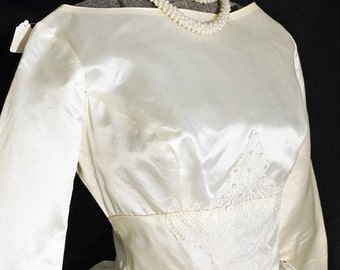 1950s Womens Ivory Acetate Wedding Dress Sz 2 Vintage Retro