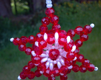 Christmas Star Red & Pearl Hand Beaded Star Christmas Ornament