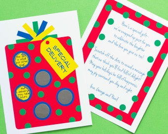 10 Christmas-Themed Pregnancy or Gender Announcements - Scratch-off - Personalized