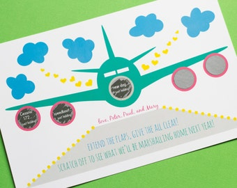 10 Pregnancy Announcements - Plane Themed Scratch off Cards - Personalized