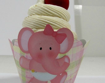 Elephant cupcake wrapper set of 12