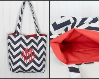 Monogrammed Chevron Tote Bag - Bridesmaid Gift  - Beach Bag - Teachers Gift - Mother's Day Gift - Diaper Bag - Personlized Bag - Gift Bag