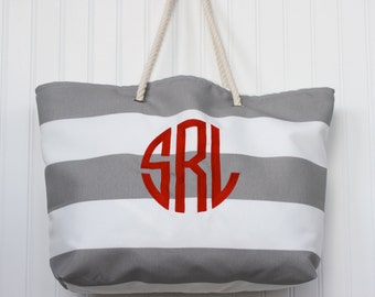 Beach Tote Bag - Large Monogrammed Tote Bag - Bridesmaid Gift  - Teacher Gift  - Diaper Bag - Personalized Bag - Mothers Day Gift