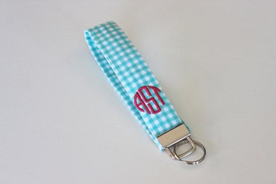 Monogrammed Gingham Wristlet Key Fob - Bridesmaid Gift - Preppy - Graduation Gift - Sorority Gift