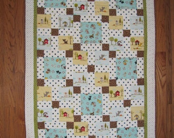 Puppy Dogs and Polka Dots Baby Quilt