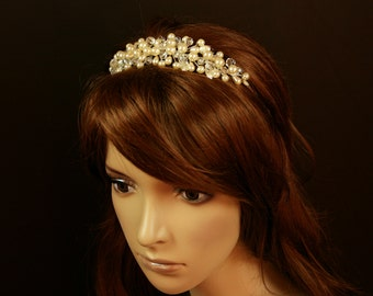 Pearl and Crystal Headpiece -Aada Wedding Tiara with Bohemian Pearls and Crystals- Bridal Headband - Bridal Hair Accessories