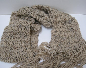 Knit Ribbon Scarf Beige With Fleck Hand Knit Scarf Winter Accessories Woman Teen Gift Idea For Her