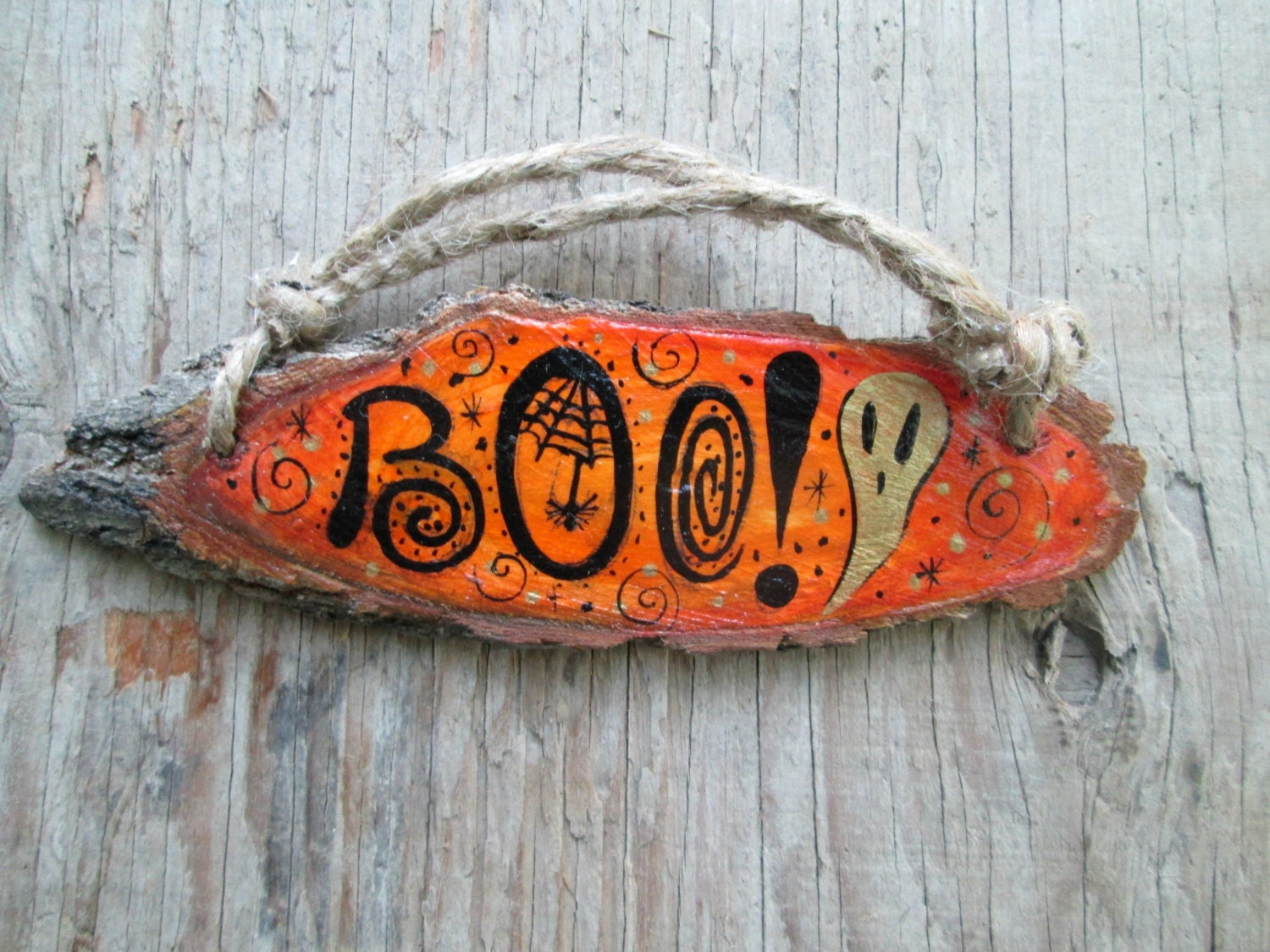 Cute halloween sign boo wall hanging rustic decoration - Hemp rope craft ideas an authentic rustic feel ...