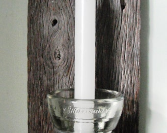 100+ year-old Barn Wood Slats Candle Holder with Armstrong Insulator