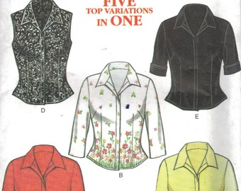 New Look Ladies tops pattern size 8 to 18  tops blouses FIVE TOP VARIATIONS