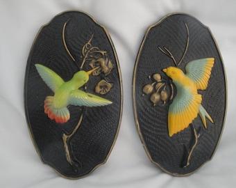 Chalkware Bird Plaques/Chalkware Bird Pictures/Hummingbird Chalk Wall Decor