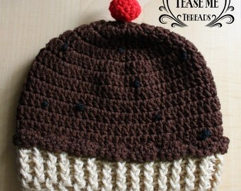 Cupcake Beanie, Kids Adults Cupcake Hat_Winter Costume Cupcake_Chocolate, Vanilla,Berry Red Cupcake