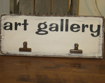 Art Gallery wood sign with clips